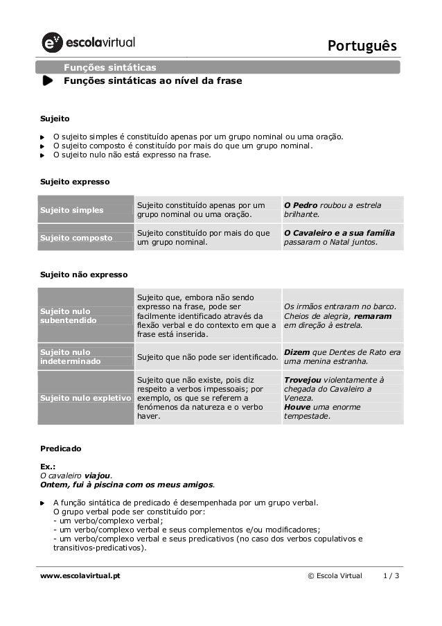 Português www.escolavirtual.pt © Escola Virtual 1 / 3 Sujeito O sujeito simples é constituído apenas por um grupo nominal ...