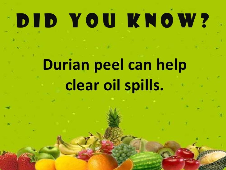 DID YOU KNOW Durian Peel Can Help Clear Oil Spills