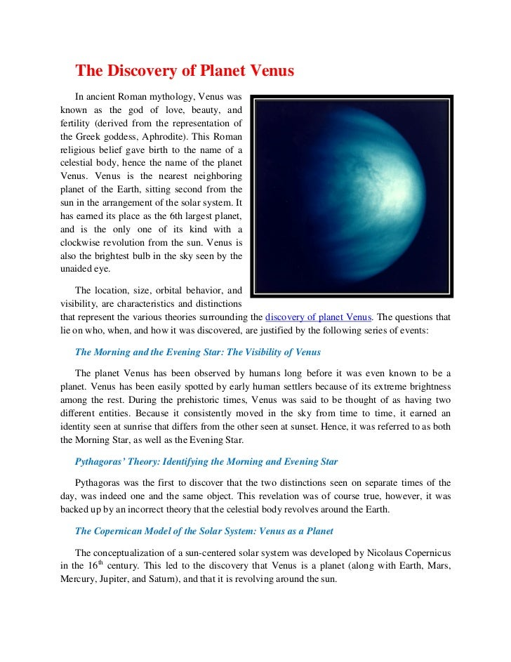 The Discovery of Planet Venus    In ancient Roman mythology, Venus wasknown as the god of love, beauty, andfertility (deri...
