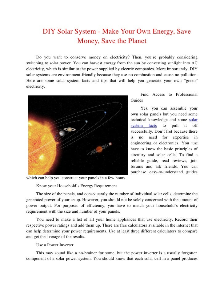 DIY Solar System - Make Your Own Energy, Save                    Money, Save the Planet      Do you want to conserve money...