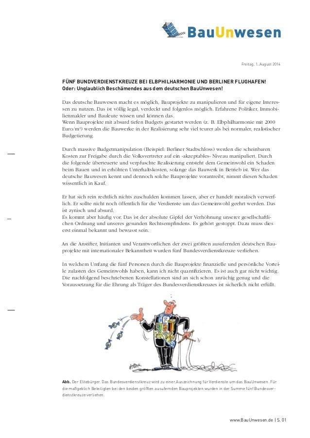 www.BauUnwesen.de   S. 01 FÜNF BUNDVERDIENSTKREUZE BEI ELBPHILHARMONIE UND BERLINER FLUGHAFEN! Oder: Unglaublich Beschämen...