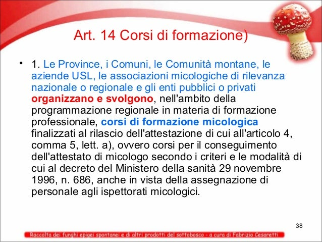 Art. 14 Corsi di formazione) • 1. Le Province, i Comuni, le Comunità montane, le aziende USL, le associazioni micologiche ...