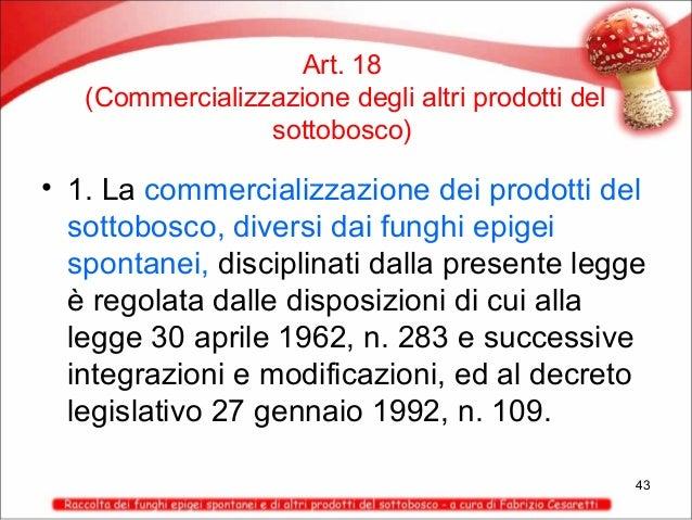 Art. 18 (Commercializzazione degli altri prodotti del sottobosco)  • 1. La commercializzazione dei prodotti del sottobosco...