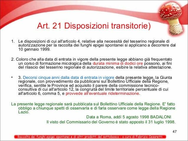 Art. 21 Disposizioni transitorie) 1. Le disposizioni di cui all'articolo 4, relative alla necessità del tesserino regional...