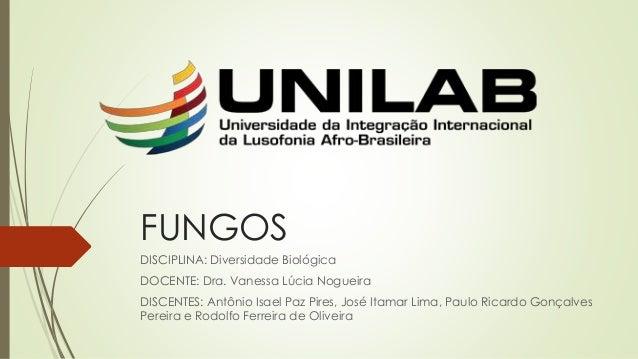 FUNGOS DISCIPLINA: Diversidade Biológica DOCENTE: Dra. Vanessa Lúcia Nogueira DISCENTES: Antônio Isael Paz Pires, José Ita...