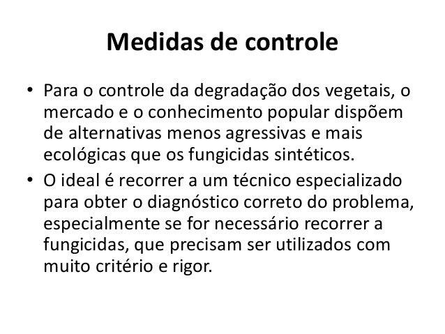 Medidas de controle • Para o controle da degradação dos vegetais, o mercado e o conhecimento popular dispõem de alternativ...