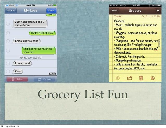 Fun Grocery Lists