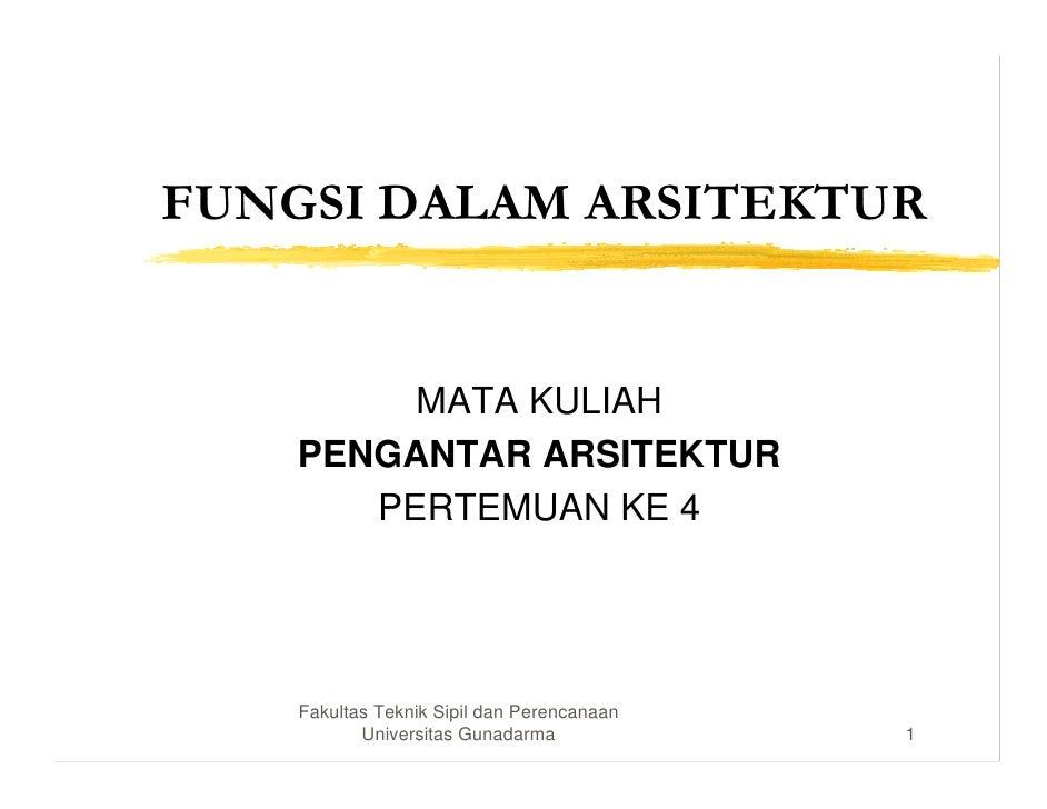 FUNGSI DALAM ARSITEKTUR         MATA KULIAH    PENGANTAR ARSITEKTUR       PERTEMUAN KE 4    Fakultas Teknik Sipil dan Pere...