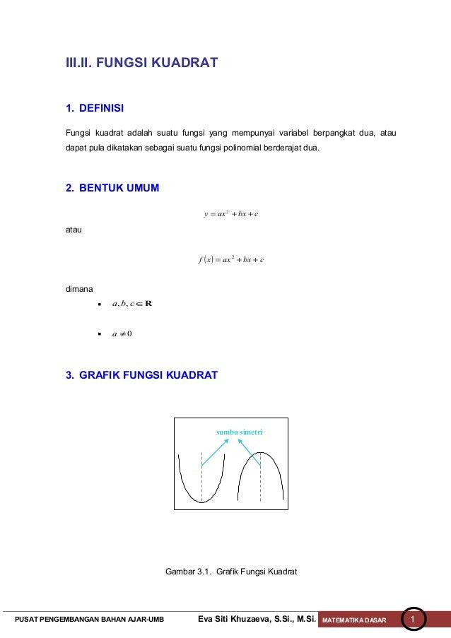 III.II. FUNGSI KUADRAT           1. DEFINISI           Fungsi kuadrat adalah suatu fungsi yang mempunyai variabel berpangk...