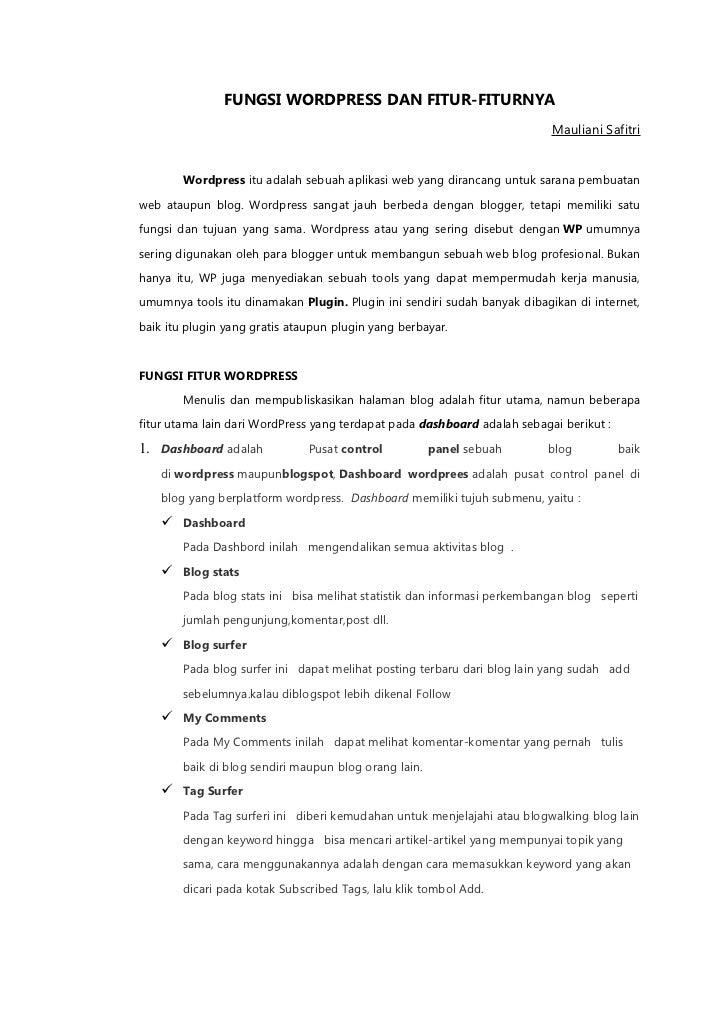 Fungsi wordpress dan fitur