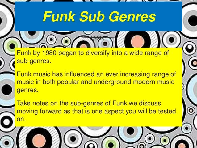 "origins of funk music See article history with the rise of rap music in the 1980s and its ""sampling"" of 1970s funk songs, funk grew in stature and significance in hip-hop culture."