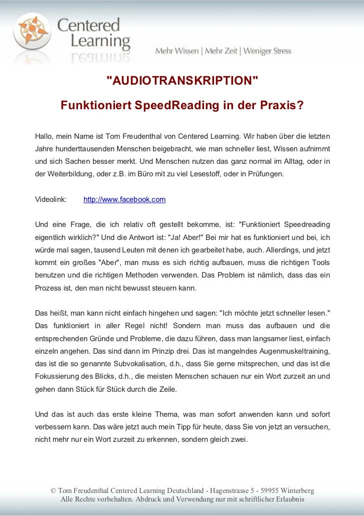 """AUDIOTRANSKRIPTION""        Funktioniert SpeedReading in der Praxis?Hallo, mein Name ist Tom Freudenthal von Centered Lear..."