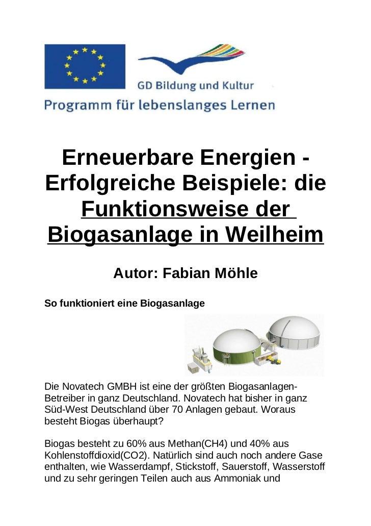 Erneuerbare Energien -Erfolgreiche Beispiele: die   Funktionsweise derBiogasanlage in Weilheim               Autor: Fabian...