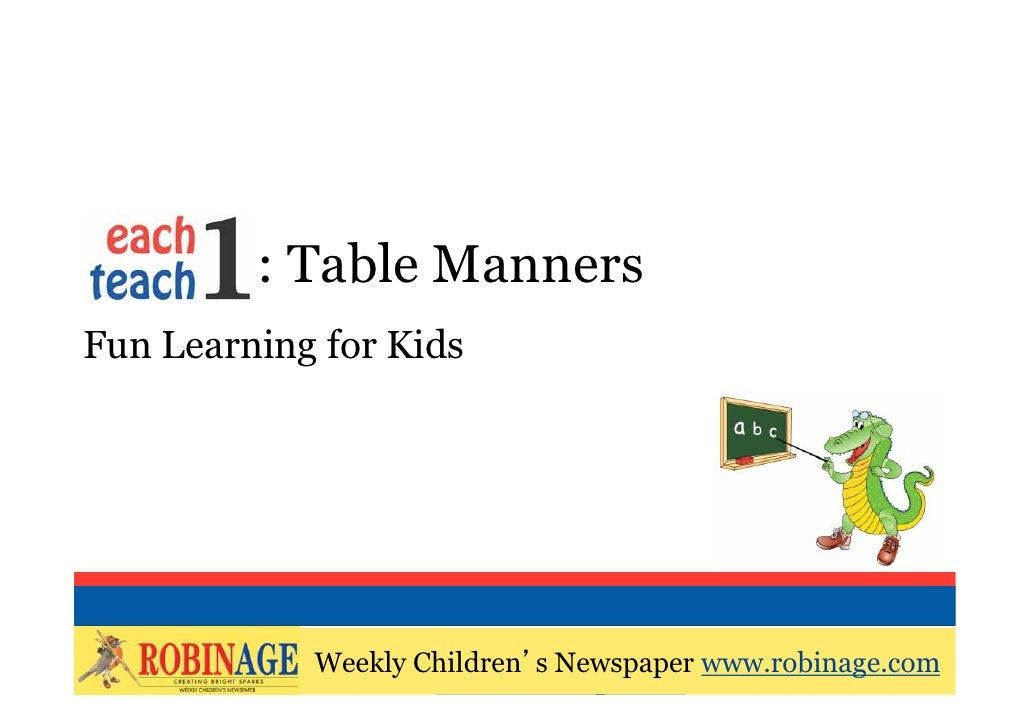 EOTO Table MannersFun Learning For Kids Weekly Children S Newspaper