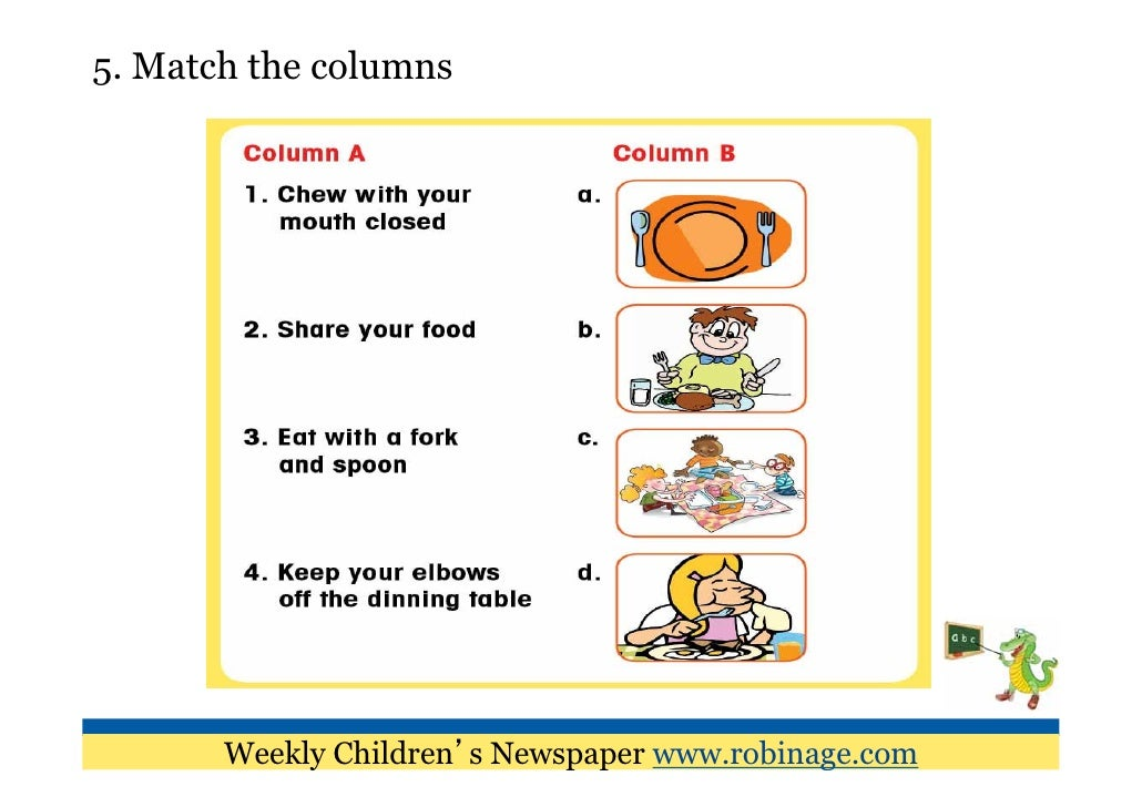 Table manners for kids printable dining table etiquette ppt for Table etiquette