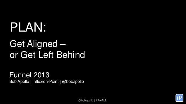 ip @bobapollo | #FoM13 PLAN: Get Aligned – or Get Left Behind Funnel 2013 Bob Apollo | Inflexion-Point | @bobapollo @bobap...