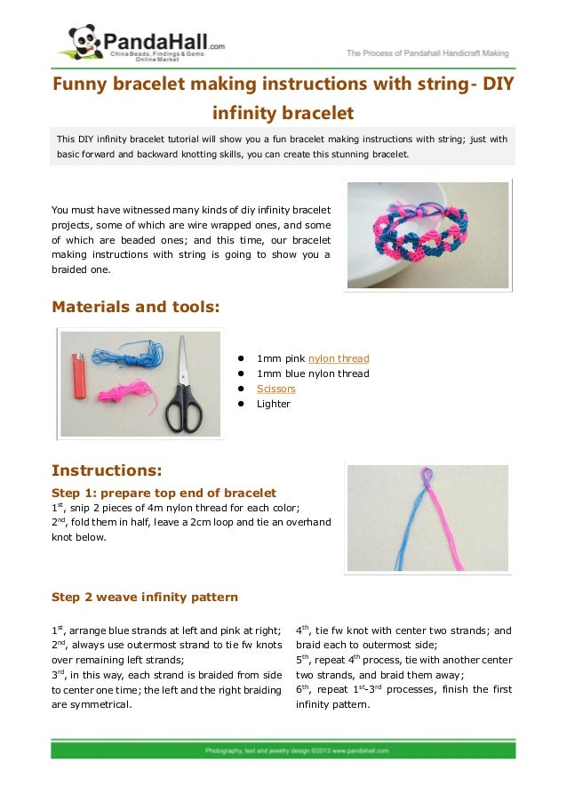 Funny bracelet making instructions with string diy for Net making instructions