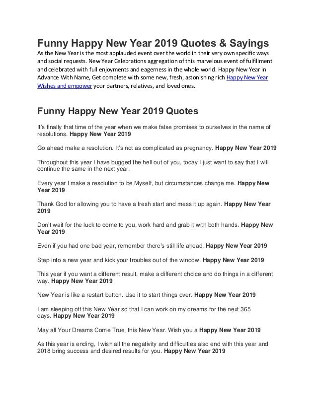 funny happy new year quotes amp sayings