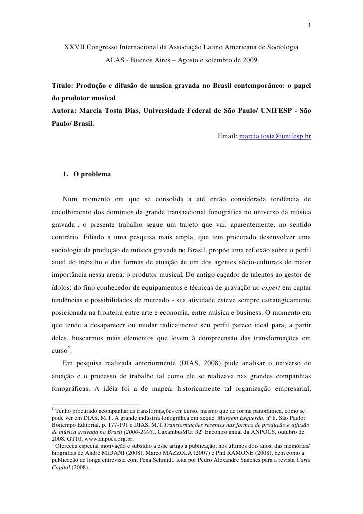 1        XXVII Congresso Internacional da Associação Latino Americana de Sociologia                      ALAS - Buenos Air...