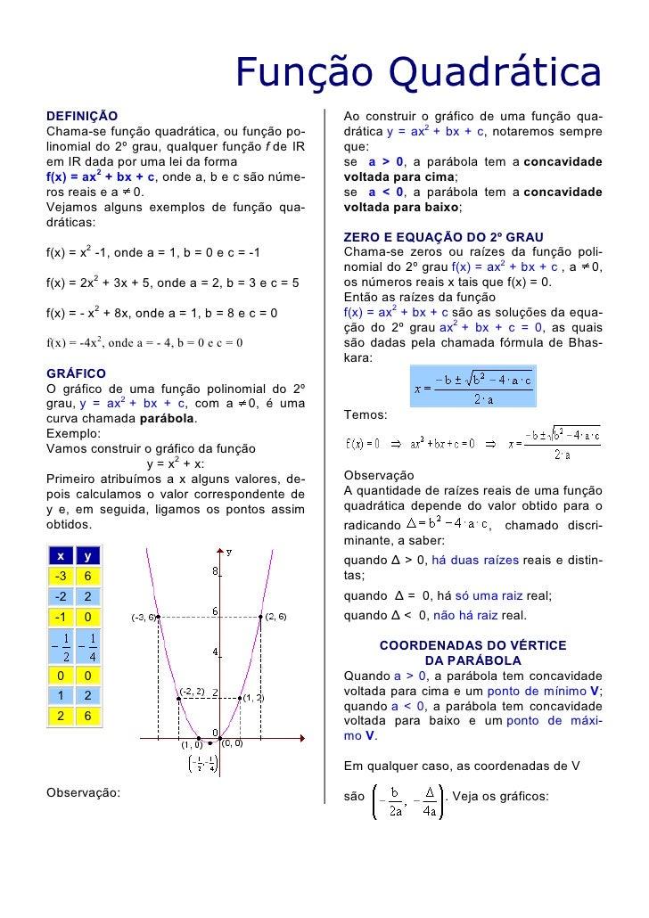 Função Quadrática DEFINIÇÃO                                        Ao construir o gráfico de uma função qua- Chama-se funç...