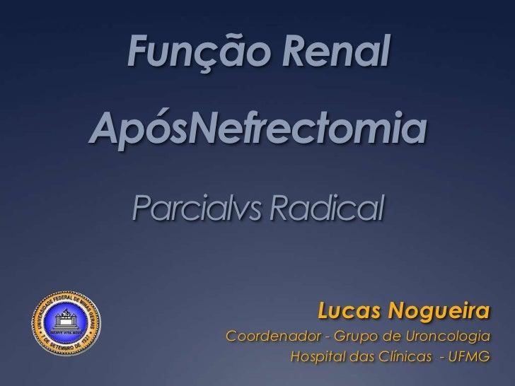 Função Renal ApósNefrectomiaParcialvs Radical<br />Lucas Nogueira<br />Coordenador - Grupo de Uroncologia<br />Hospital da...
