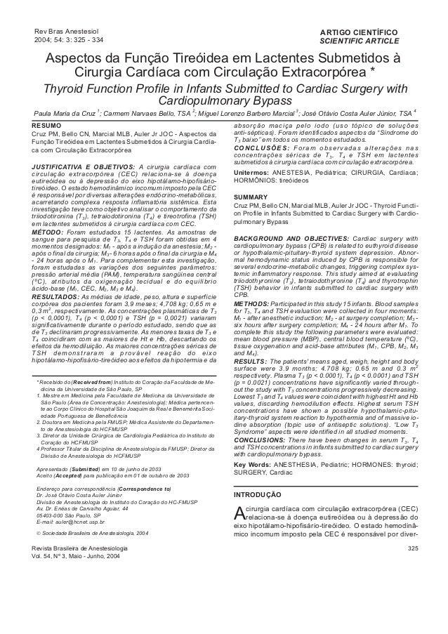 Aspectos da Função Tireóidea em Lactentes Submetidos à Cirurgia Cardíaca com Circulação Extracorpórea * Thyroid Function P...