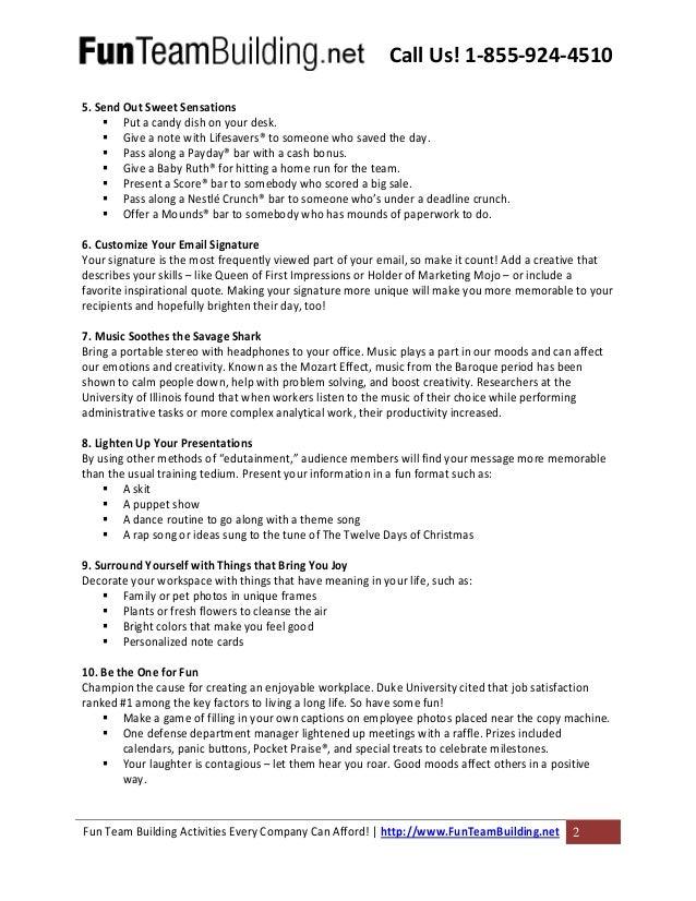 Fun Teambuilding Dot Net 52 Ways To Have Fun At Work