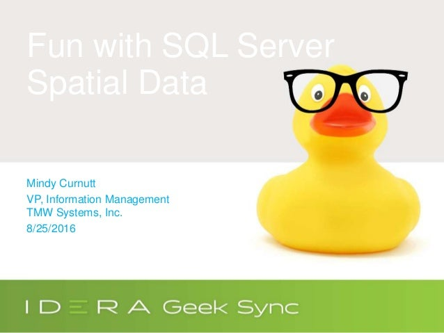 Fun with SQL Server Spatial Data Mindy Curnutt VP, Information Management TMW Systems, Inc. 8/25/2016