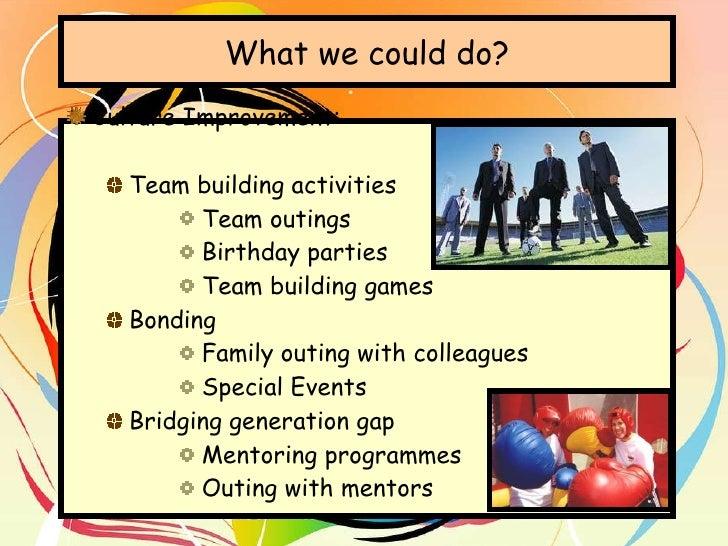 What we could do? <ul><li>Culture Improvement:  </li></ul><ul><ul><li>Team building activities </li></ul></ul><ul><ul><ul>...