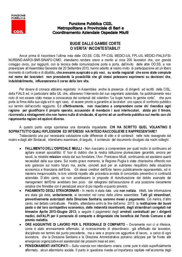 Funzione Pubblica CGIL Metropolitana e Provinciale di Bari e Coordinamento Aziendale Ospedale Miulli BUGIE DALLE GAMBE COR...