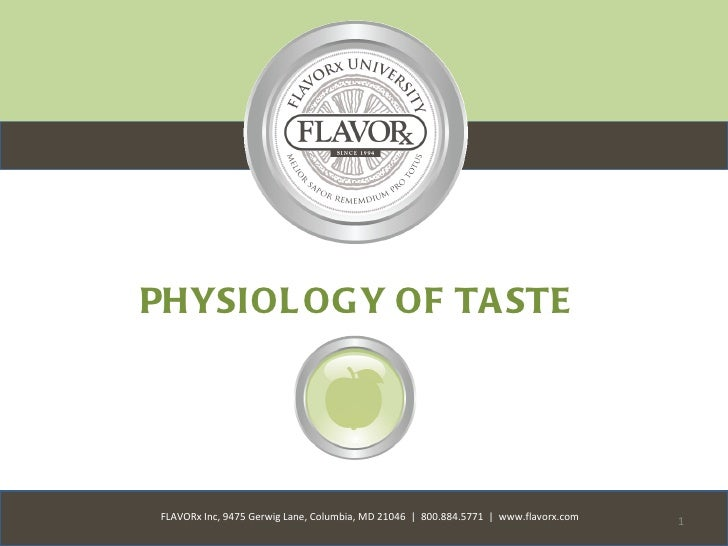 PHYSIOL OGY OF TA STEFLAVORx Inc, 9475 Gerwig Lane, Columbia, MD 21046 | 800.884.5771 | www.flavorx.com   1