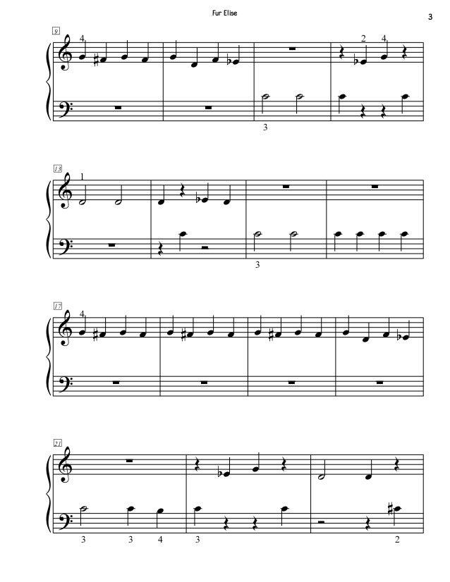 Piano piano music sheets for beginners : Fur Elise Beginner Piano Sheet Music