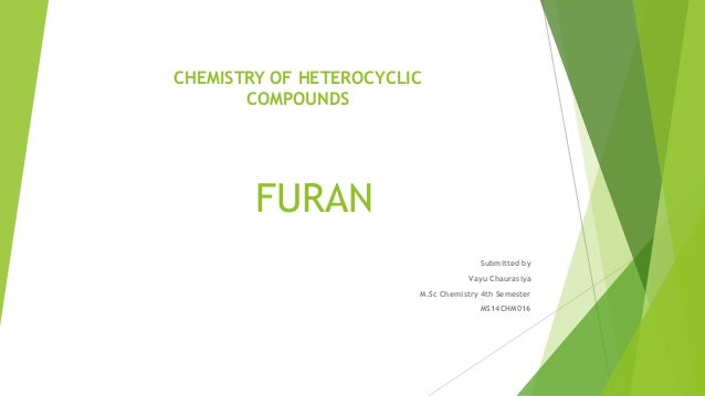 FURAN Submitted by Vayu Chaurasiya M.Sc Chemistry 4th Semester MS14CHM016 CHEMISTRY OF HETEROCYCLIC COMPOUNDS