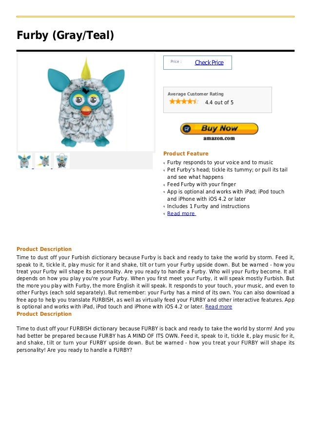 Furby (Gray/Teal)                                                                Price :                                  ...