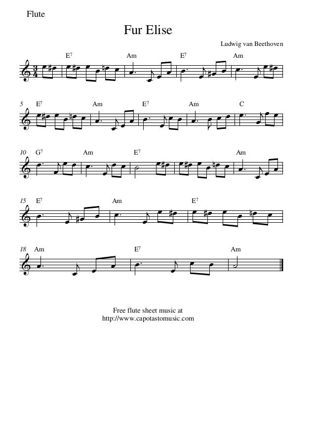 Fur Elise Flute Sheet Music Linertinamarkova
