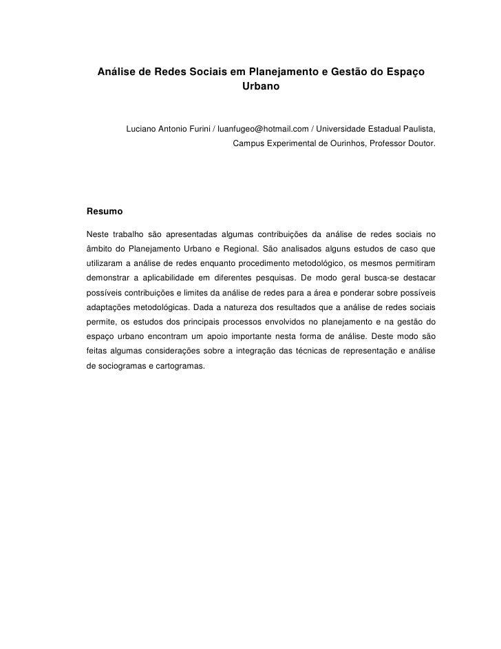 Análise de Redes Sociais em Planejamento e Gestão do Espaço                             Urbano          Luciano Antonio Fu...