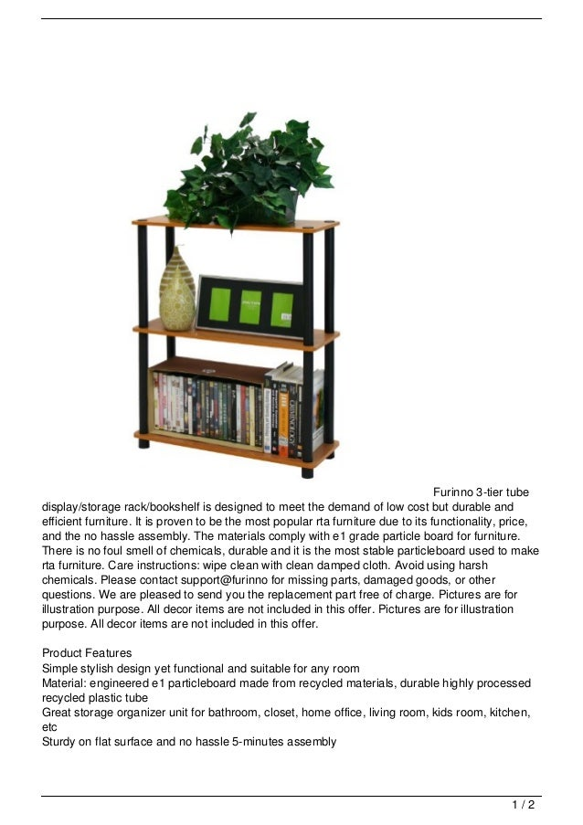 Furinno 3-tier tubedisplay/storage rack/bookshelf is designed to meet the demand of low cost but durable andefficient furn...