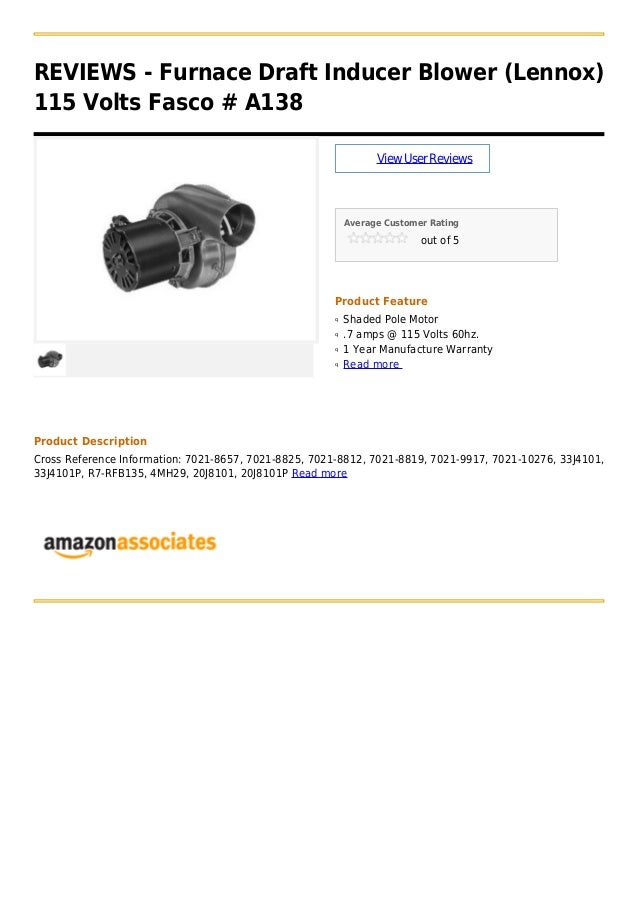 furnace draft inducer blower lennox 115 volts fasco a138. Black Bedroom Furniture Sets. Home Design Ideas