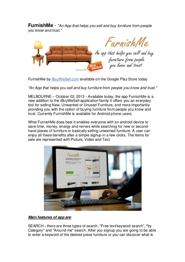 """FurnishMe - """"An App that helps you sell and buy furniture from people you know and trust.""""  FurnishMe by iBuyWeSell.com av..."""