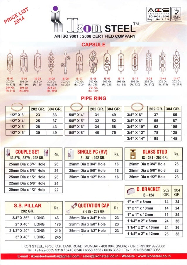 Steel Furniture Accessories Price List