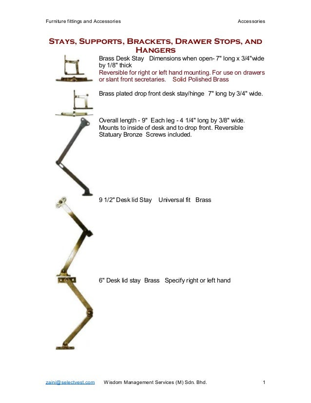 Furniture fittings and Accessories Accessories Stays, Supports, Brackets, Drawer Stops, and Hangers Brass Desk Stay Dimens...