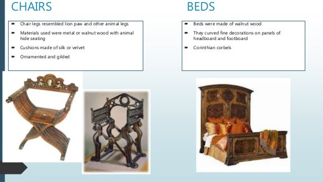 CHAIRS  Chair legs resembled lion paw and other animal legs  Materials used were metal or walnut wood with animal hide s...