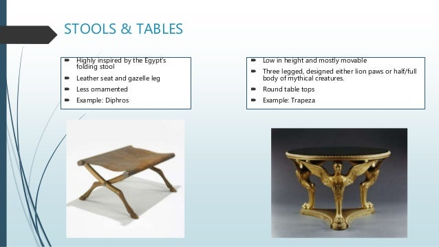 STOOLS & TABLES  Highly inspired by the Egypt's folding stool  Leather seat and gazelle leg  Less ornamented  Example:...