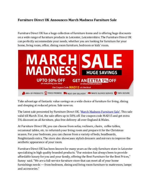 Furniture Direct UK Announces March Madness Sale Has A Huge Collection Of