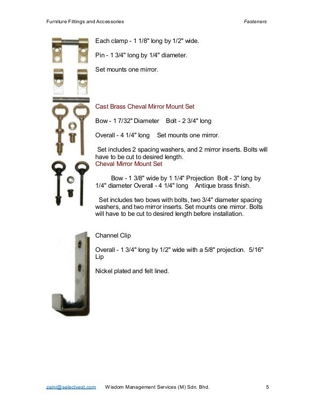 Furniture Fittings And Accessories Fasteners ...