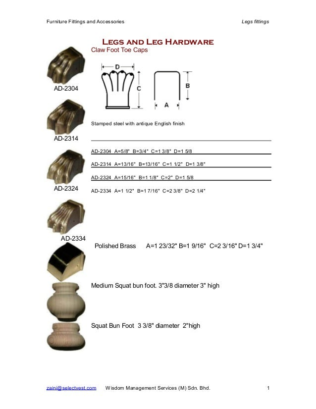 Furniture Fittings and Accessories Legs fittings Legs and Leg Hardware AD-2304 AD-2314 AD-2324 AD-2334 Claw Foot Toe Caps ...