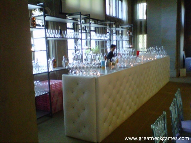 Furniture rental white tufted bar