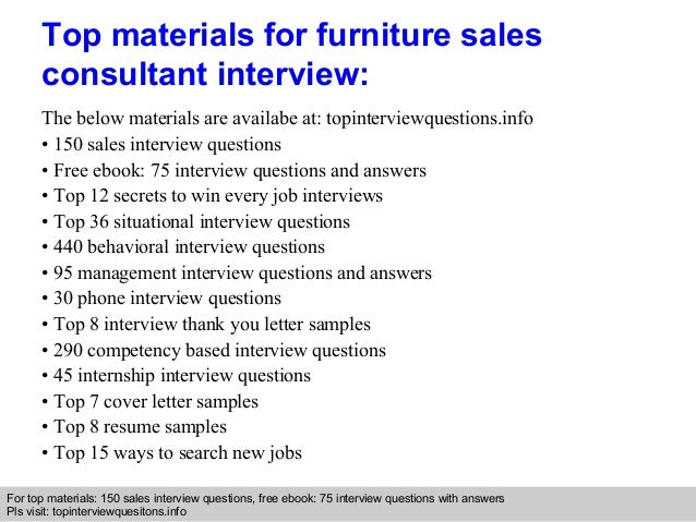 furniture sales consultant interview questions and answers