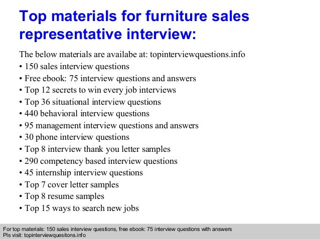 Furniture sales representative interview questions and answers