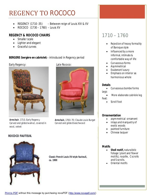 Furniture timeline assignment for Difference between baroque and rococo